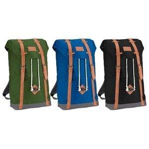 Plátěný batoh ABBEY s koženými popruhy Černý