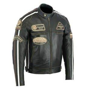 Kožená moto bunda BOS 2058 Antique Black  černá  M