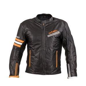 Kožená moto bunda W-TEC Brenerro  Black-Orange-White  S
