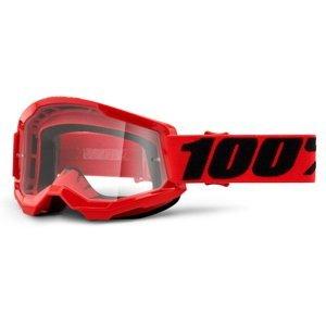 Motokrosové Brýle 100% Strata 2  Červená, Čiré Plexi
