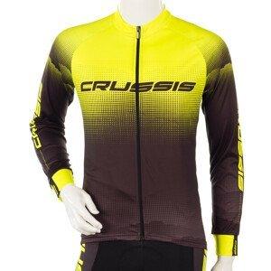 Cyklistický Dres S Dlouhým Rukávem Crussis  Černá-Fluo Žlutá  Xl