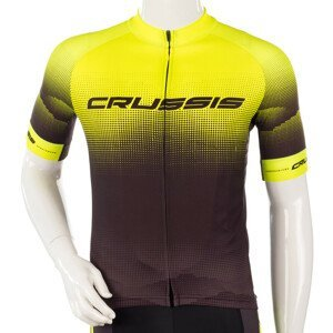 Cyklistický Dres S Krátkým Rukávem Crussis  Černá-Fluo Žlutá  L