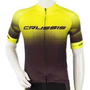 Cyklistický Dres S Krátkým Rukávem Crussis  Černá-Fluo Žlutá  3Xl