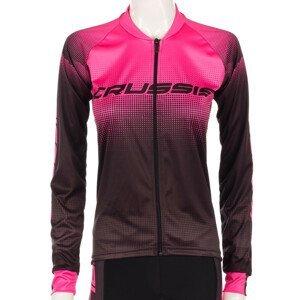 Dámský Cyklistický Dres S Dlouhým Rukávem Crussis  Černo-Růžová  M