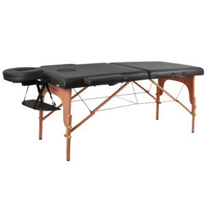 Masážní Lehátko Insportline Taisage 2-Dílné Dřevěné  Černá