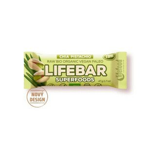 Tyčinka Lifefood Lifebar Plus s chia a pistácií BIO RAW 47 g