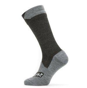 Nepromokavé ponožky SealSkinz WP All Weather Mid Length Velikost ponožek: 36-38 / Barva: černá/šedá