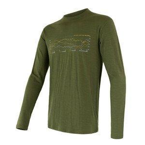 Pánské triko Sensor Merino Wool Active PT Track dl.r. Velikost: M / Barva: zelená