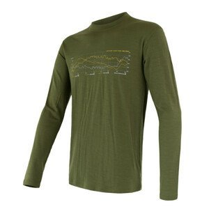 Pánské triko Sensor Merino Wool Active PT Track dl.r. Velikost: L / Barva: zelená