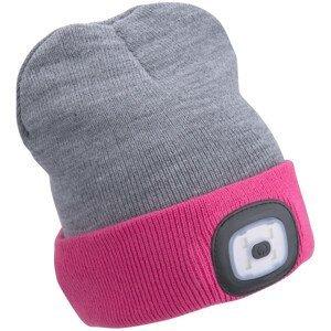 Čepice s čelovkou Extol Light Barva: šedá/růžová