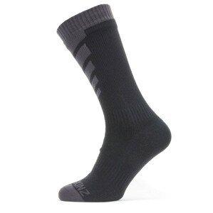 Ponožky SealSkinz WWW Mid Length Sock Velikost ponožek: 36-38 / Barva: šedá/černá