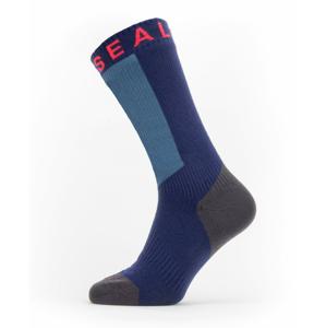 Nepromokavé ponožky SealSkinz WWW Mid Length with Hydrostop Velikost ponožek: 39-42 / Barva: modrá/červená