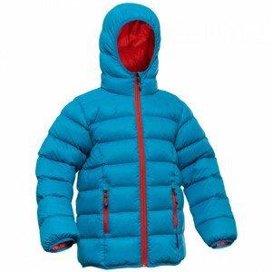 Péřová bunda Warmpeace Chip Dětská velikost: 134-140 / Barva: modrá/oranžová