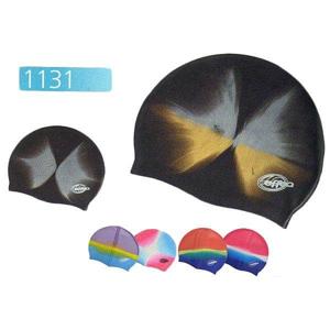 Koupací čepice SILICON MULTICOLOR 1131 - Fialovo-žluto-modrá