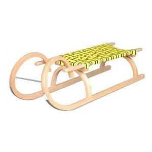 Sáně dřevěné Rohačky 110cm - Žlutá