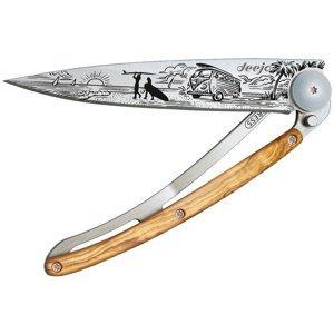 Kapesní nůž Deejo 1CB070 Tattoo 37g, Olive Wood, Van Life