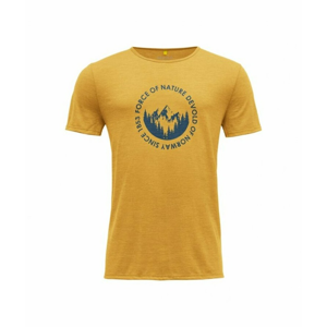 Pánské vlněné tričko s krátkým rukávem Devold Leira GO 293 280 O 058A žlutá S