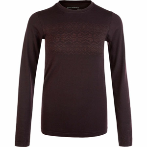 Dámské tričko Endurance Yalia Seamless Wool Print LS Baselayer tmavě fialové