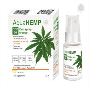 AquaHEMP CBD50 Oral spray pomeranč BS 50 ml