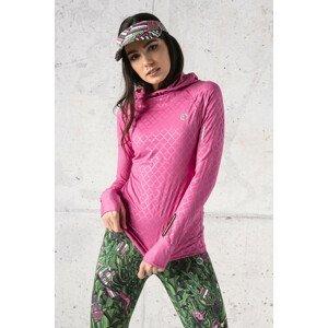 Nessi Tréninková mikina s kapucí a průstřihem na sporttester LBK-1120T Shiny Royal Pink Velikost: S