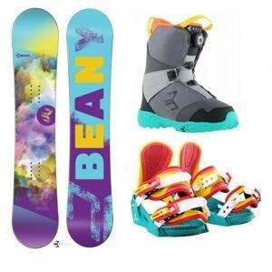 Beany Meadow dívčí snowboard + vázání Beany Junior snowboardové + boty Beany  - 140 cm + S - EU 32-37 (200-235mm)