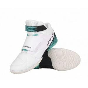 Unihoc U4 GOALIE white/turquoise brankařské boty + míčky 4-pack - EU 40