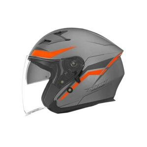 Nox Přilba N127 Late, (stříbrná/oranžová), - XL : 61-62 cm