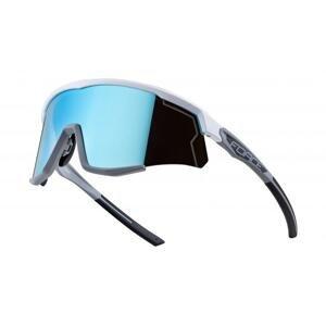 Force SONIC bílo-šedé cyklistické brýle - modrá zrc. skla