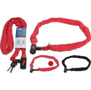 Xqmax KO-8EN000040cerv Zámek na kolo řetězový 120 cm červená