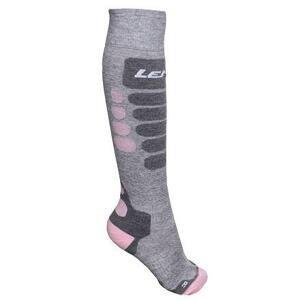 Lenz Skiing 3.0 lyžařské ponožky šedá-růžová - EU 35-38