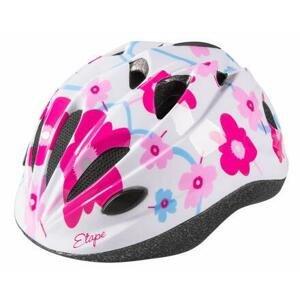 Etape Pony dětská cyklistická helma bílá-růžová - S/M 52-56 cm