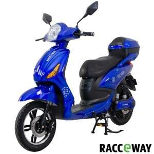 RACCEWAY Elektroskútr E-moped modrý-lesklý s baterií 12Ah + sleva 1500,- na příslušenství - 250