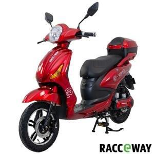 RACCEWAY Elektroskútr E-moped červený-lesklý s baterií 12Ah + sleva 1500,- na příslušenství - 250
