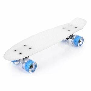 Meteor Flip LED plastový skateboard bílá