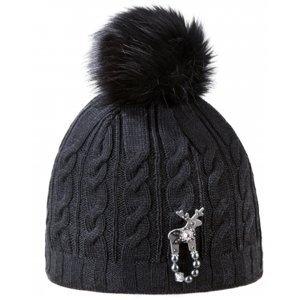 Kama ČEPICE S JELENÍ BROŽÍ STUBEN černá UNI - Dámská zimní čepice s jelení broží Deers