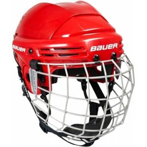 Bauer 2100 COMBO JR červená 50-55 - Juniorská helma s mřížkou