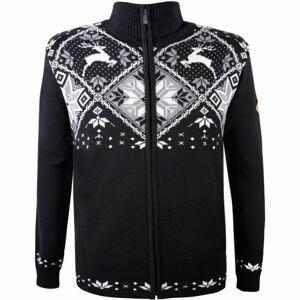 Kama MERINO SVETR 4055 černá L - Celopropínací pletený svetr