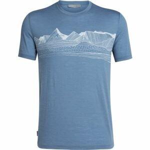 Icebreaker SPECTOR SS CREWE PYRENEES modrá M - Pánské triko na denní nošení