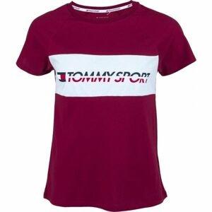 Tommy Hilfiger BLOCKED TEE LOGO vínová XS - Dámské tričko