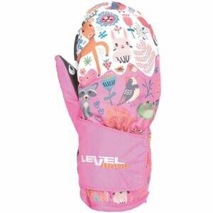 Level ANIMAL růžová 3 - Voděodolné celozateplené rukavice