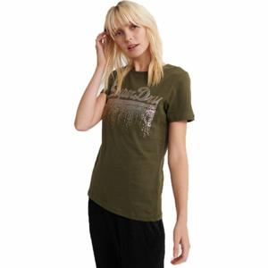 Superdry VINTAGE LOGO METALLIC CASCADE ENTRY TEE tmavě zelená 10 - Dámské tričko