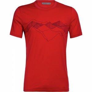 Icebreaker TECH LITE SS CREWE PEAK PATTERNS červená S - Pánské funkční tričko