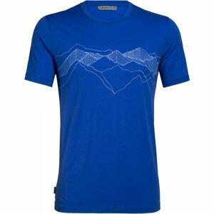 Icebreaker TECH LITE SS CREWE PEAK PATTERNS modrá S - Pánské funkční tričko