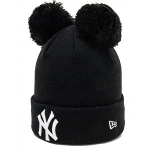 New Era MLB WMNS DOUBLE BOBBLE KNIT NEW YORK YANKEES černá UNI - Dámská klubová zimní čepice