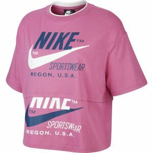 Nike NSW ICN CLSH SS TOP W růžová S - Dámské tričko