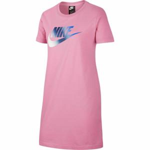 Nike NSW TSHIRT DRESS FUTURA G růžová L - Dívčí šaty