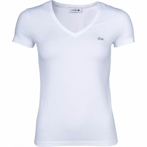 Lacoste V NECK SS T-SHIRT bílá M - Dámské tričko