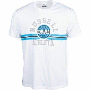 Russell Athletic COLLEGIATE STRIPE CREWNECK TEE SHIRT bílá L - Pánské tričko