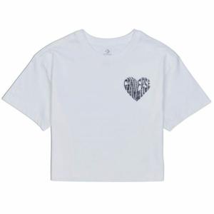 Converse WOMENS  LEFT CHEST HEART CROPPED TEE bílá XS - Dámské crop tričko