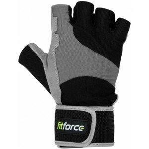 Fitforce FITNESS RUKAVICE šedá XL - Rukavice na fitness